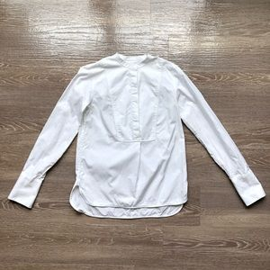Everlane White Long Sleeve Half Button Shirt